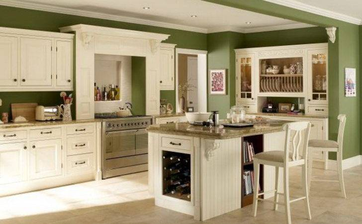 Green Wall Color Cabinets Kitchen