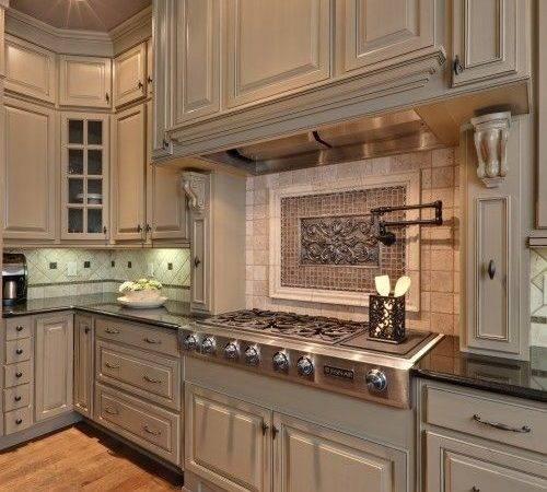 Greige Cabinets Beige Backsplash Darker Countertops