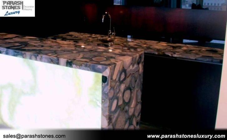 Grey Agate Bathroom Countertop Table