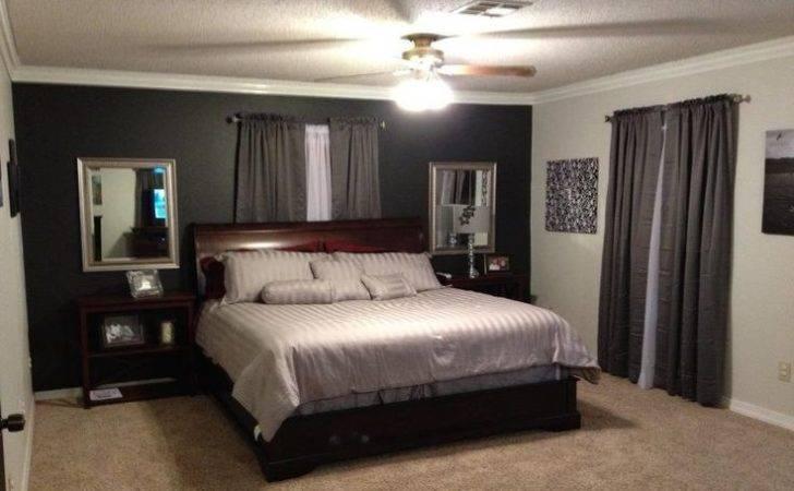 Grey Bedroom Black Accent Wall Dark Walls Master