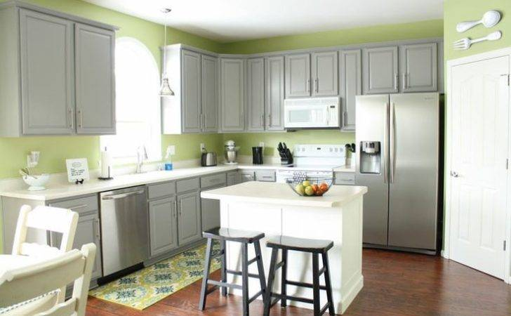Grey Cabinets Green Walls Kitchen Pinterest