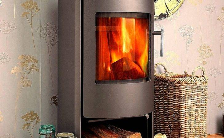 Grey Jupiter Curved Contemporary Modern Woodburning Stove