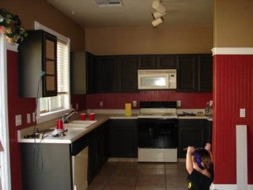 Grey Kitchen Cabinets Red Walls
