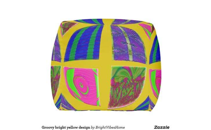 Groovy Bright Yellow Design Cube Pouf Zazzle