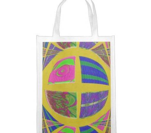 Groovy Bright Yellow Design Grocery Bags Zazzle