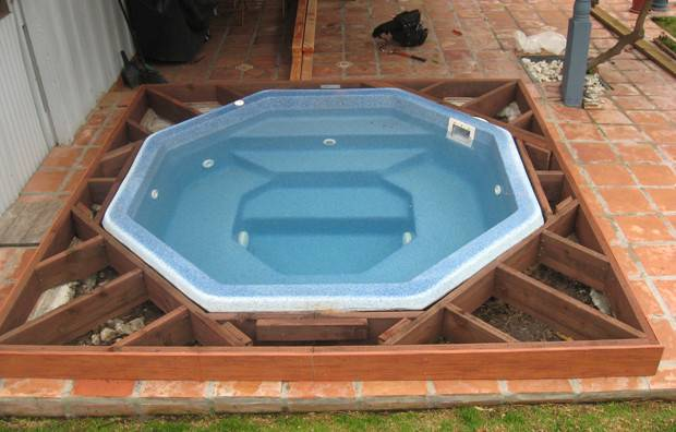 Ground Hot Tub Before After