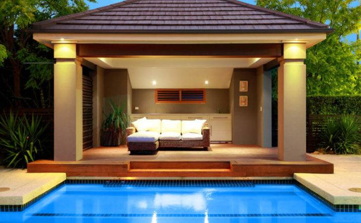 Ground Pool Design Using Stone Cabana Decorative