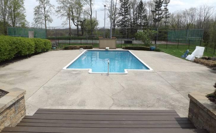 Ground Pools Concrete Pool Deck Ideas Columbus Ohio