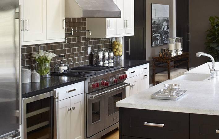 Grout Tile Backsplash Transitional Style Kitchen Island