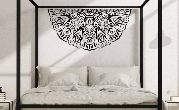 Half Mandala Flower Wall Decal Master Bedroom Vinyl