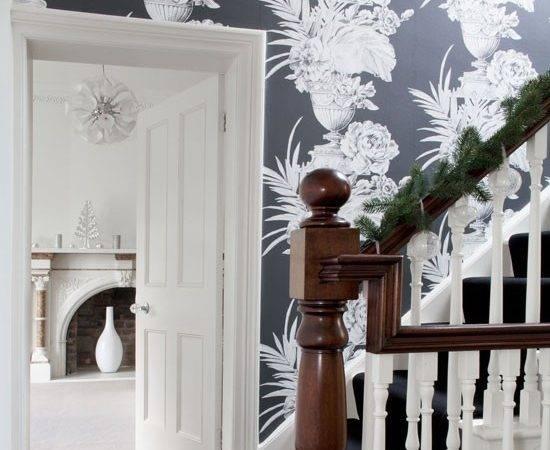 Hallway Oversized Black Floral Decorating