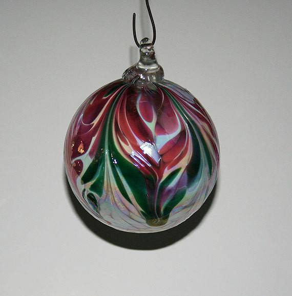 Hand Blown Glass Christmas Ornament White Ruby Green Feathers