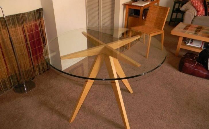 Hand Made Ibi Table Base Glass Top Dining Antikea