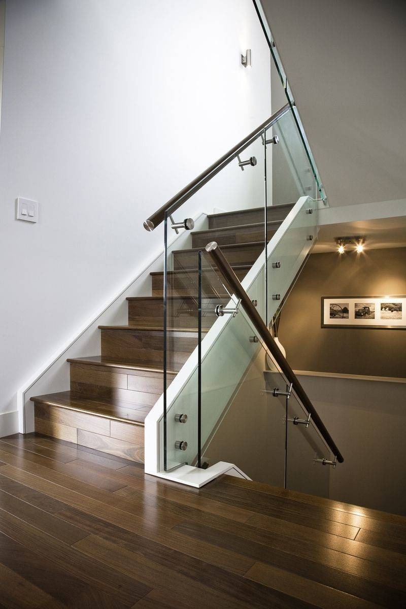 Hand Made Maple Stair Glass Railing Stainless Steel Handrail