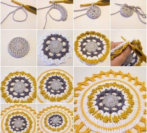 Handmade Crochet Mandala Step Diy Tutorial Instructions Thumb