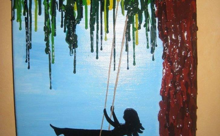 Handmade Girl Swinging Melted Crayon Acrylic Craftkraze