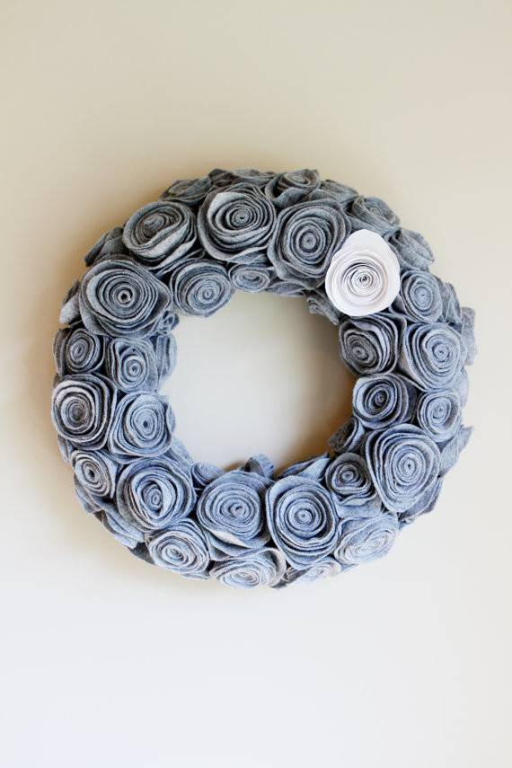 Handmade Grey Felt Rosette Wreath Winter Door Decor