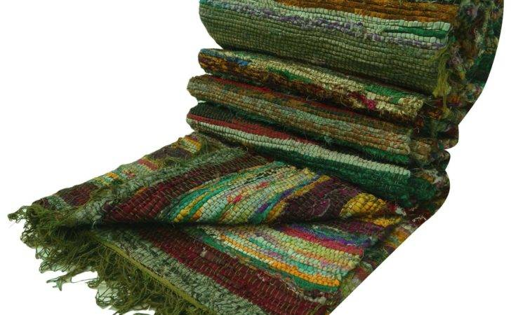 Handmade Indian Chindi Rugs Hand Woven Mat Recycled Cotton Rug Floor