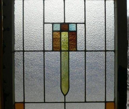 Handsome Antique American Art Deco Stained Glass Window