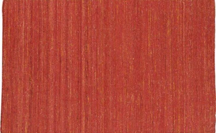 Handwoven Recycled Sari Silk Orange Rug