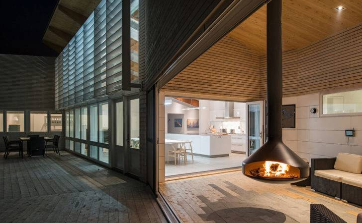 Hanging Fireplace Indoors Outdoors Swiveling