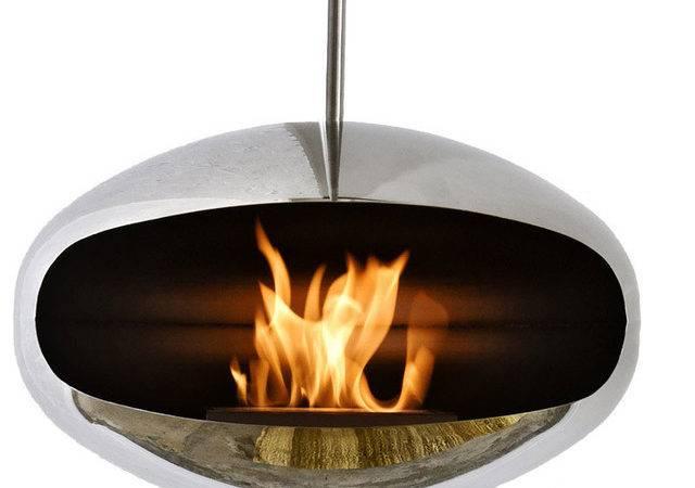 Hanging Fireplace Modern Indoor Fireplaces Plush Pod Decor