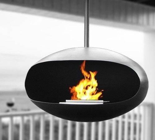 Hanging Fireplace Set Black Modern Indoor Fireplaces