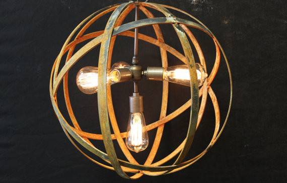Hanging Light Sockets Wine Barrel Orb Chandelier Sphere