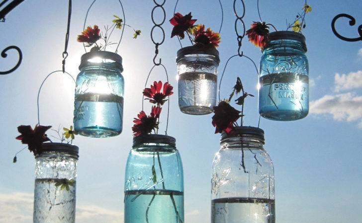 Hanging Mason Jar Vases Flower Frog Lids Wedding