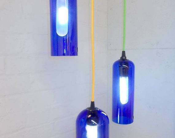 Hanging Pendant Chandelier Glass Lamp Set Color Fabric Cord Swag