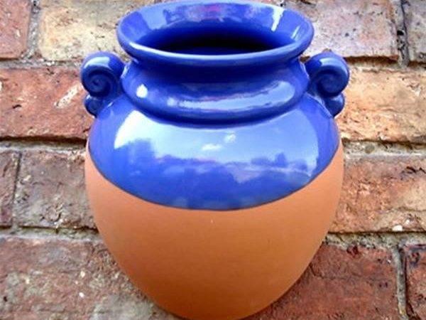 Hanging Terracotta Wall Pot Planter Blue Glaze Internet