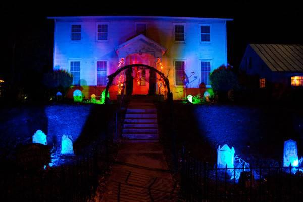 Haunted House Dark Path Through Halloween Graveyard