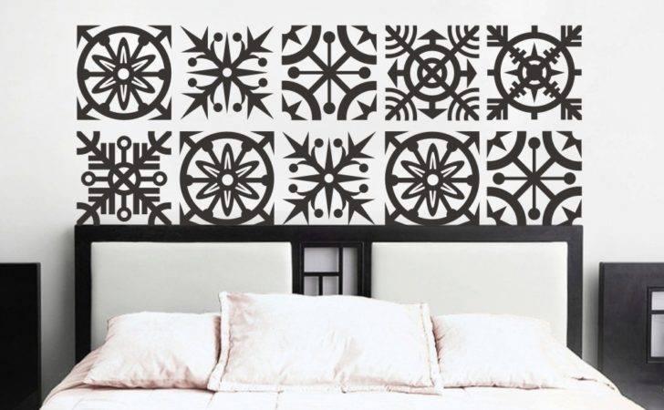 Headboard Wall Decal Geometric Dorm Decor Shabby Chic Star