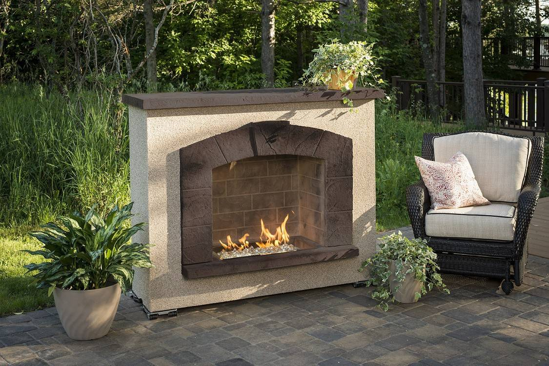 Heating Lighting Fireplaces Stone Arch Outdoor Gas Fireplace