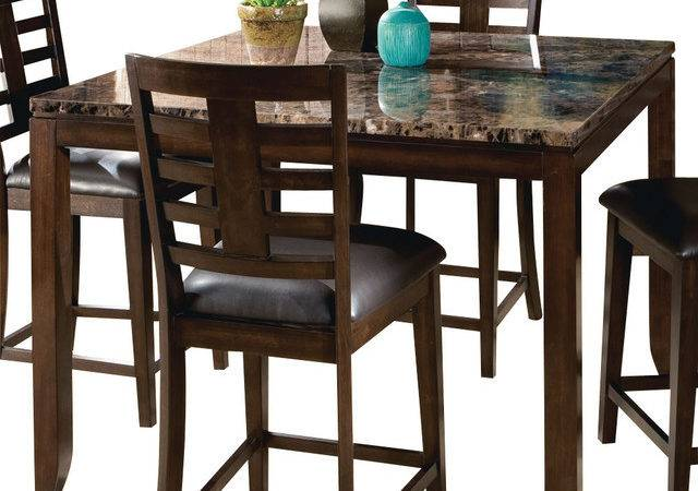 Height Table Faux Marble Top Traditional Dining Tables