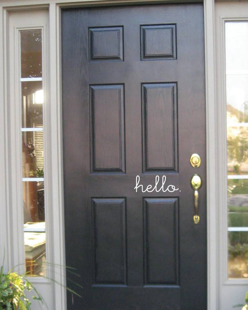 Hello Front Door Vinyl Decal Grabersgraphics Etsy