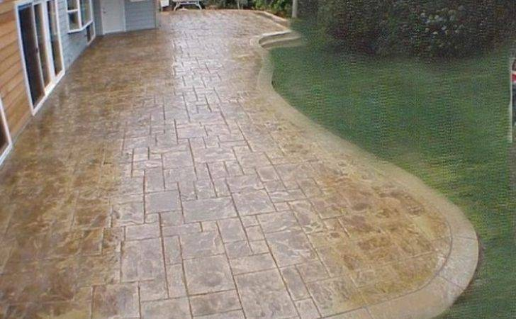 Here Large Stamped Concrete Patio Curved Border