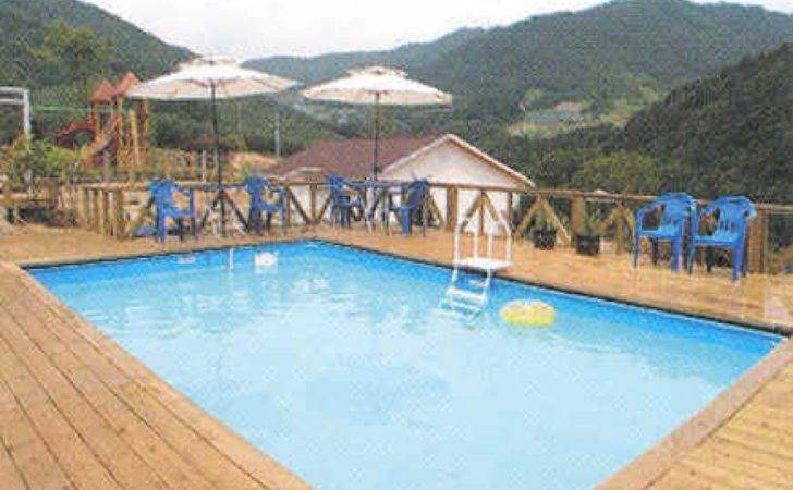 Here Large Wooden Pool Deck Rectangular Swimming