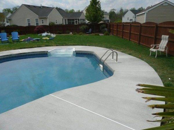 Here Luxurious Stamped Concrete Pool Patio