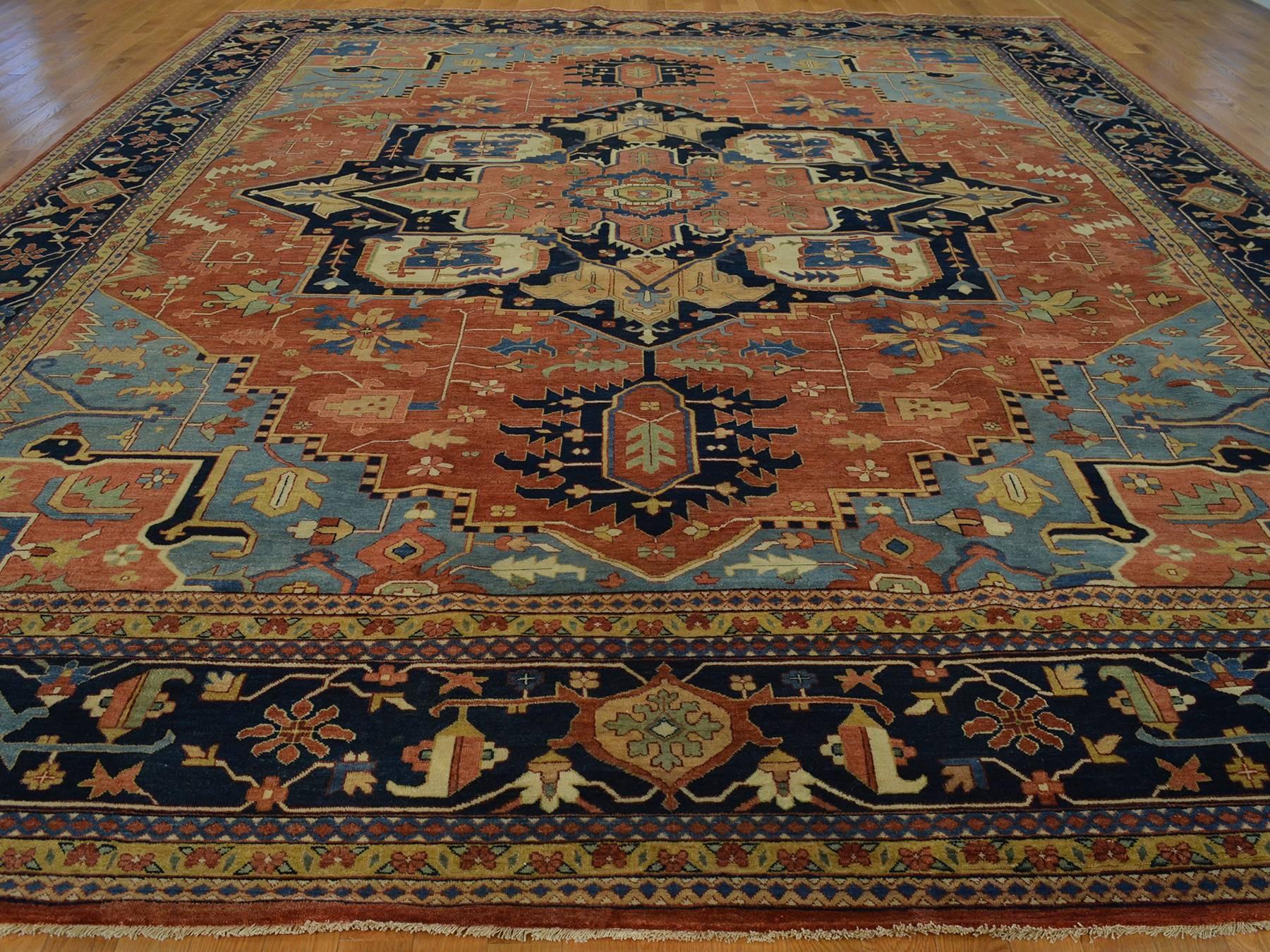 Heriz Recreation Handmade High End Oriental Rug Wool