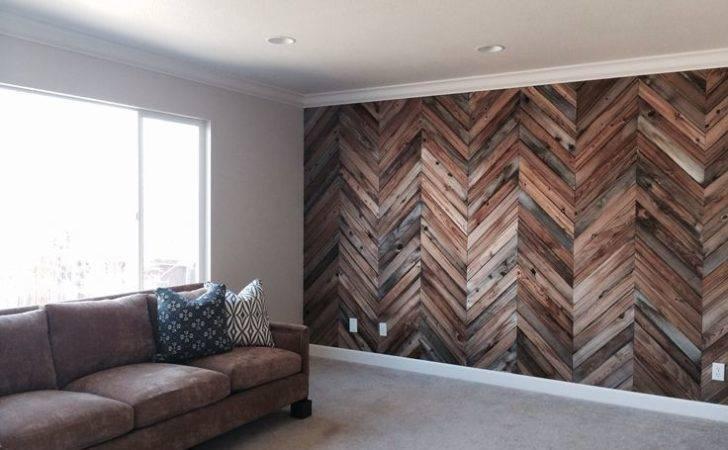 Herringbone Reclaimed Wood Wall Basement Pinterest