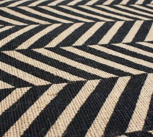 Herringbone Sisal Runner Black High Street Market