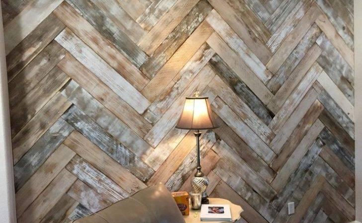 Herringbone Wall Pinterest Reclaimed Wood Accent Diy