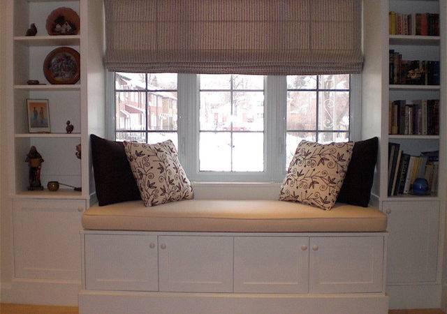 Hertle Avenue Custom Window Seat Bookcase Traditional Living