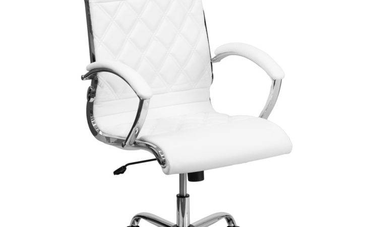 High Back Designer White Leather Executive Office Chair Chrome