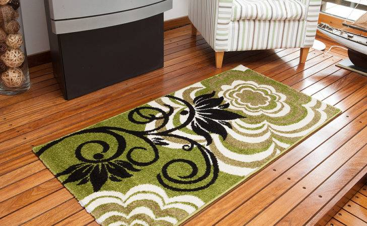 High End Floral Design Rug Luxury Stylist Lime Green Black Modern