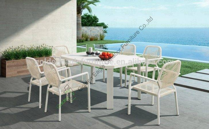 High End Garden Wicker Dining Table Chairs Patio Leisure Set