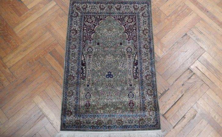 High End Green Hand Knotted New Silk Rug Ebay