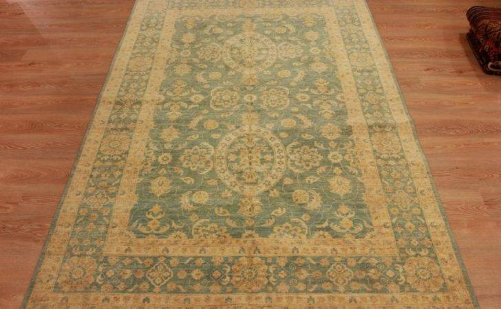 High End Handmade Wool Persian Rug Green Rare Oriental Floor Carpet