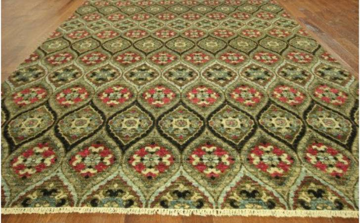 High End Oriental Ikat Hand Knotted Olive Green Rug